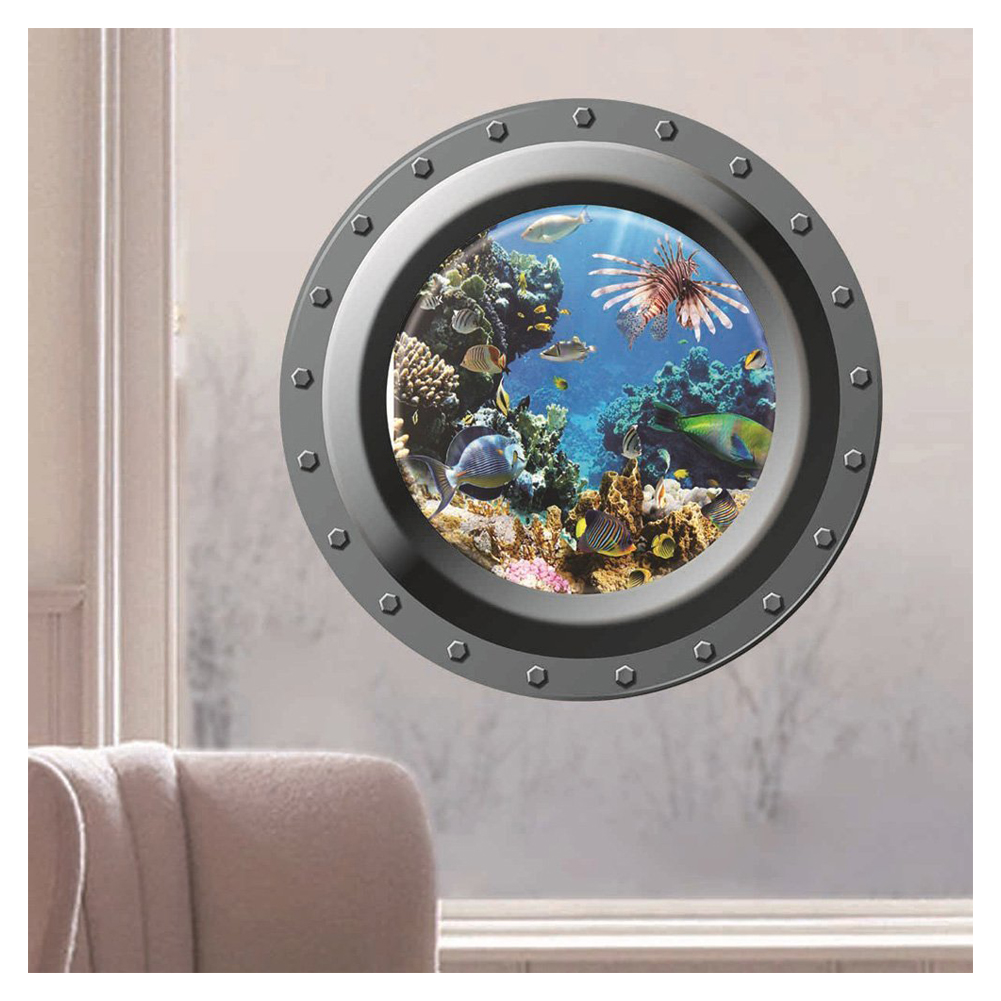 ocean view wall sticker 3d porthole window kids room home decor nemo 3d wall stickers note light shooting and different displays may cause the color of the item in the picture a little different from the real thing