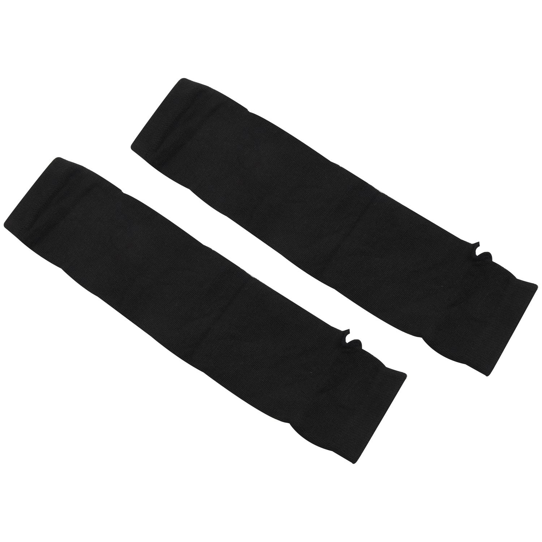 Lady-Stretchy-Soft-Arm-Warmer-Long-Sleeve-Fingerless-Gloves-Black-White-BG thumbnail 7