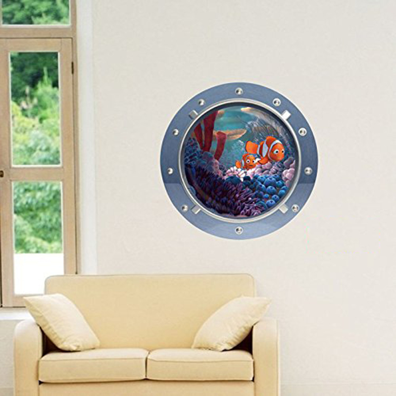 3d fish ocean window view removable wall stickers art for 3d wall decals
