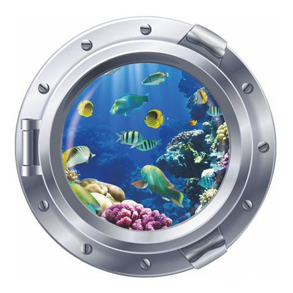 3d Fish Ocean Window View Removable Wall Stickers Art