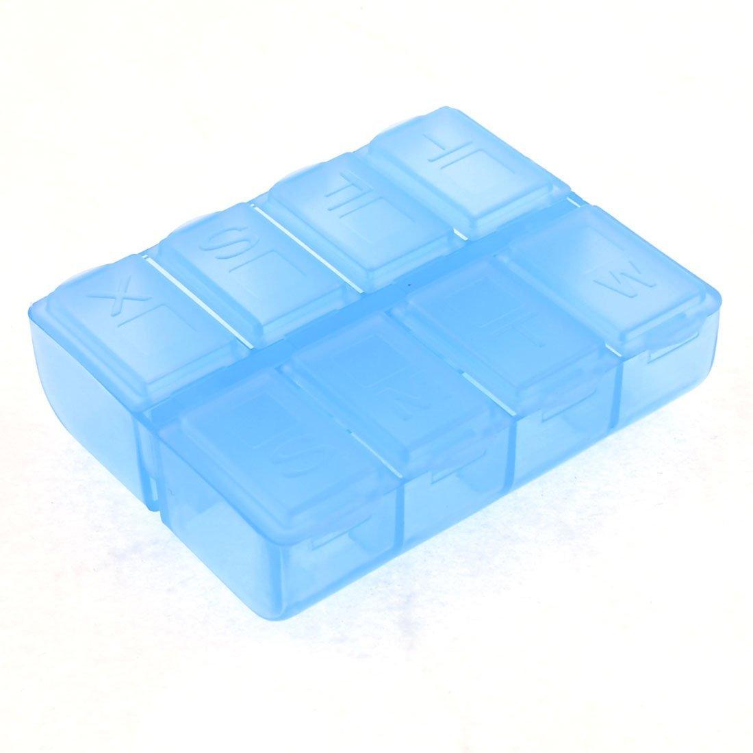 Plastic Rectangle 8 Compartments 7 Days Medicine Pill Box