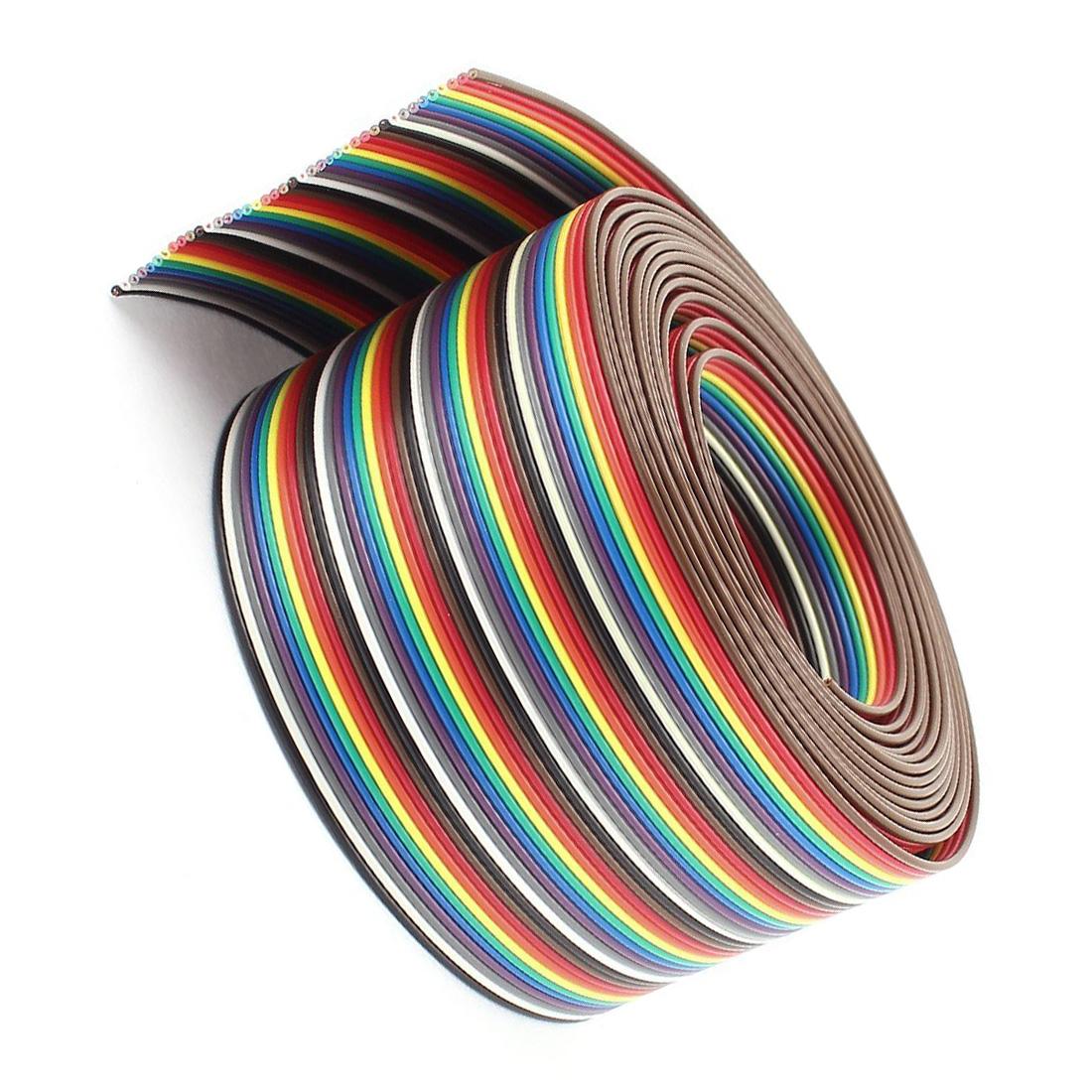 10ft 40 Way 40 Pin Rainbow Color Idc Flat Ribbon Cable 1