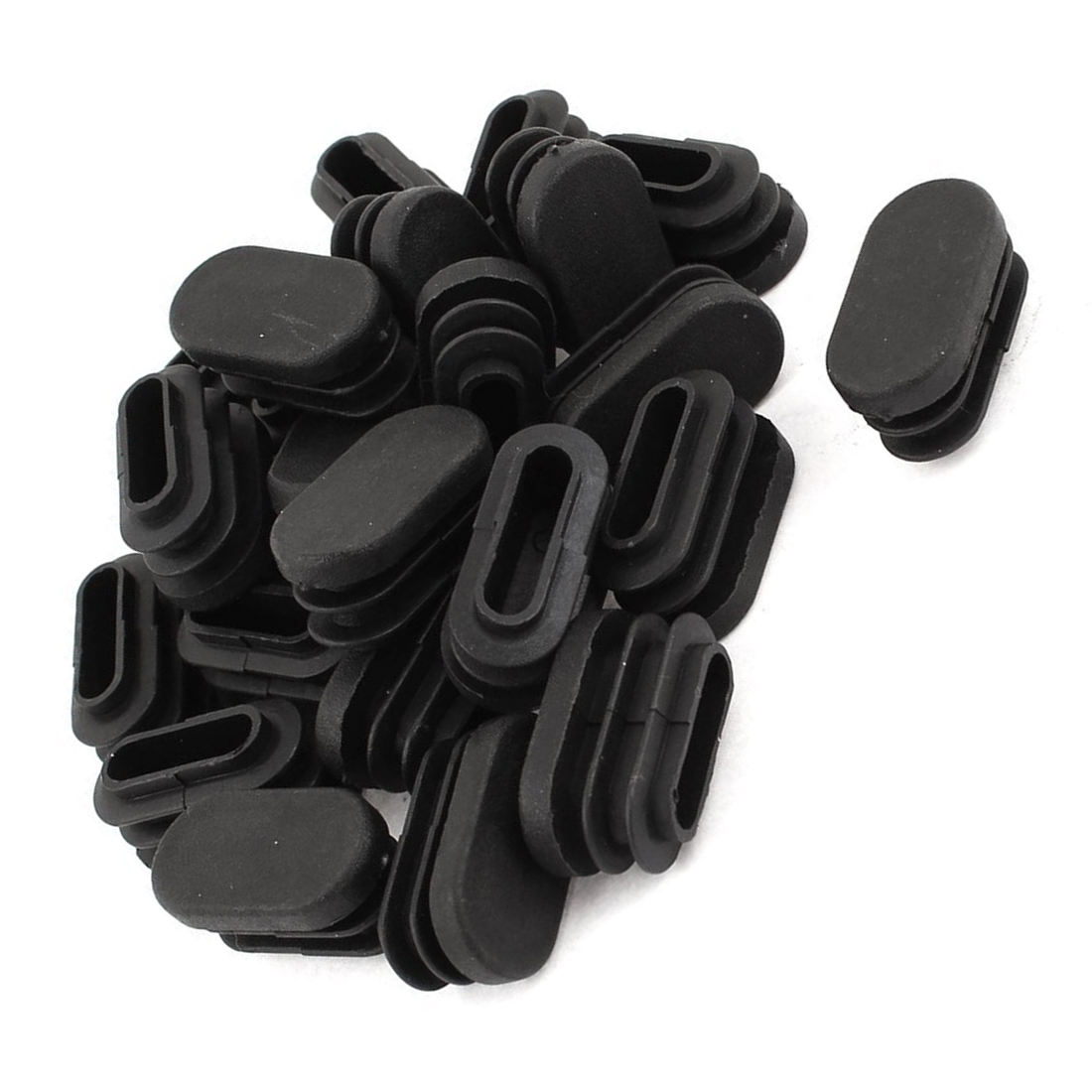 15mm X 30mm Plastic Oval Shaped End Cap Tube Insert Black