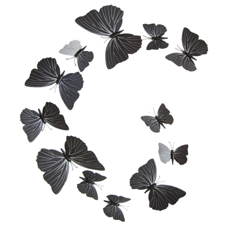 12pcs amovible 3d plastique en forme de papillon autocollant mural noir q9l7 ebay. Black Bedroom Furniture Sets. Home Design Ideas