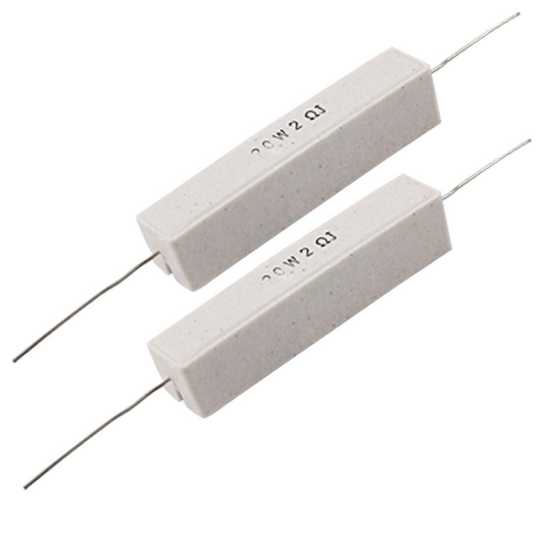 2x 20w 2 Ohm 5 Wire Wound Cement Resistors White Cp Ebay