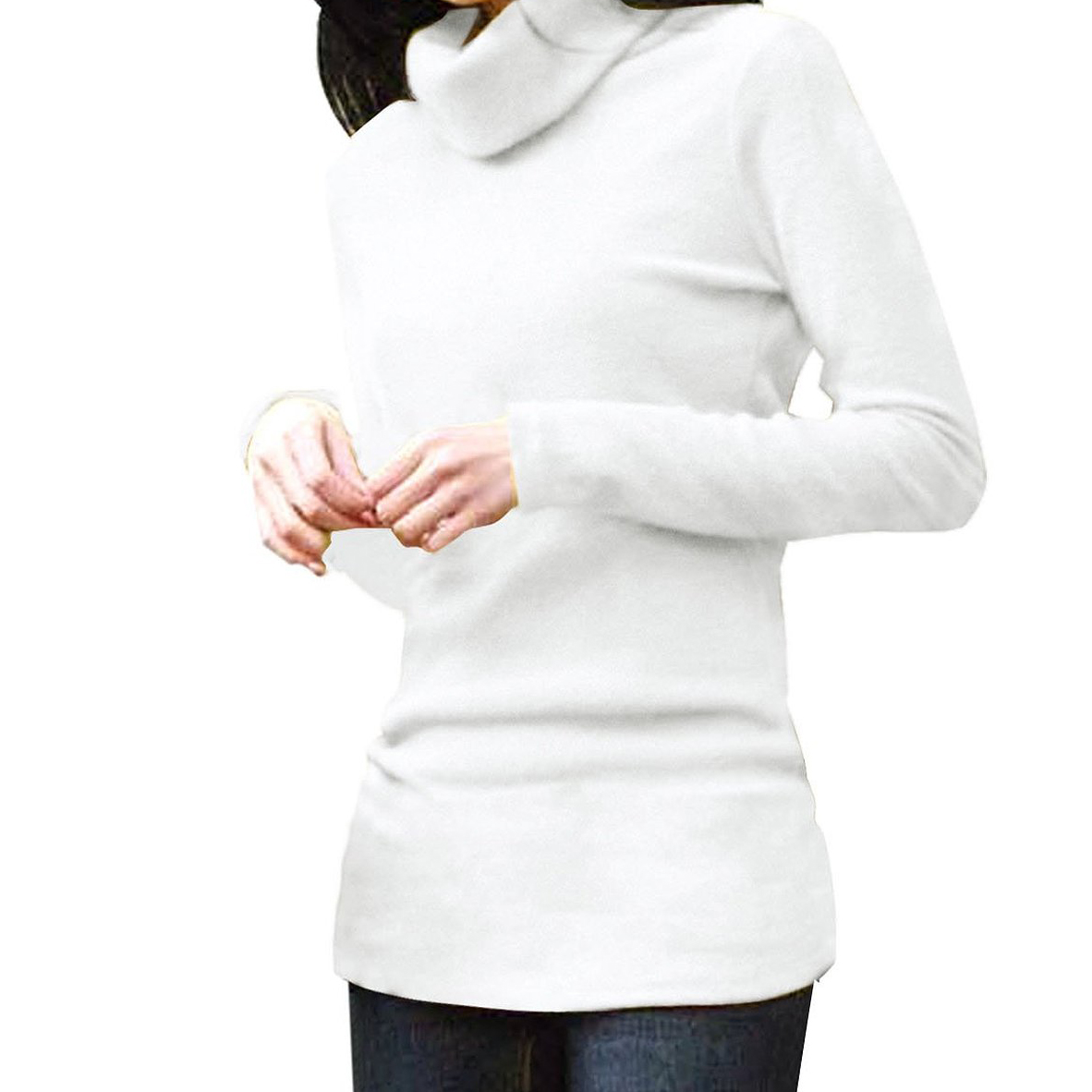 Women turtleneck long sleeve fitted knit shirt stretchy for Womens yellow long sleeve shirt