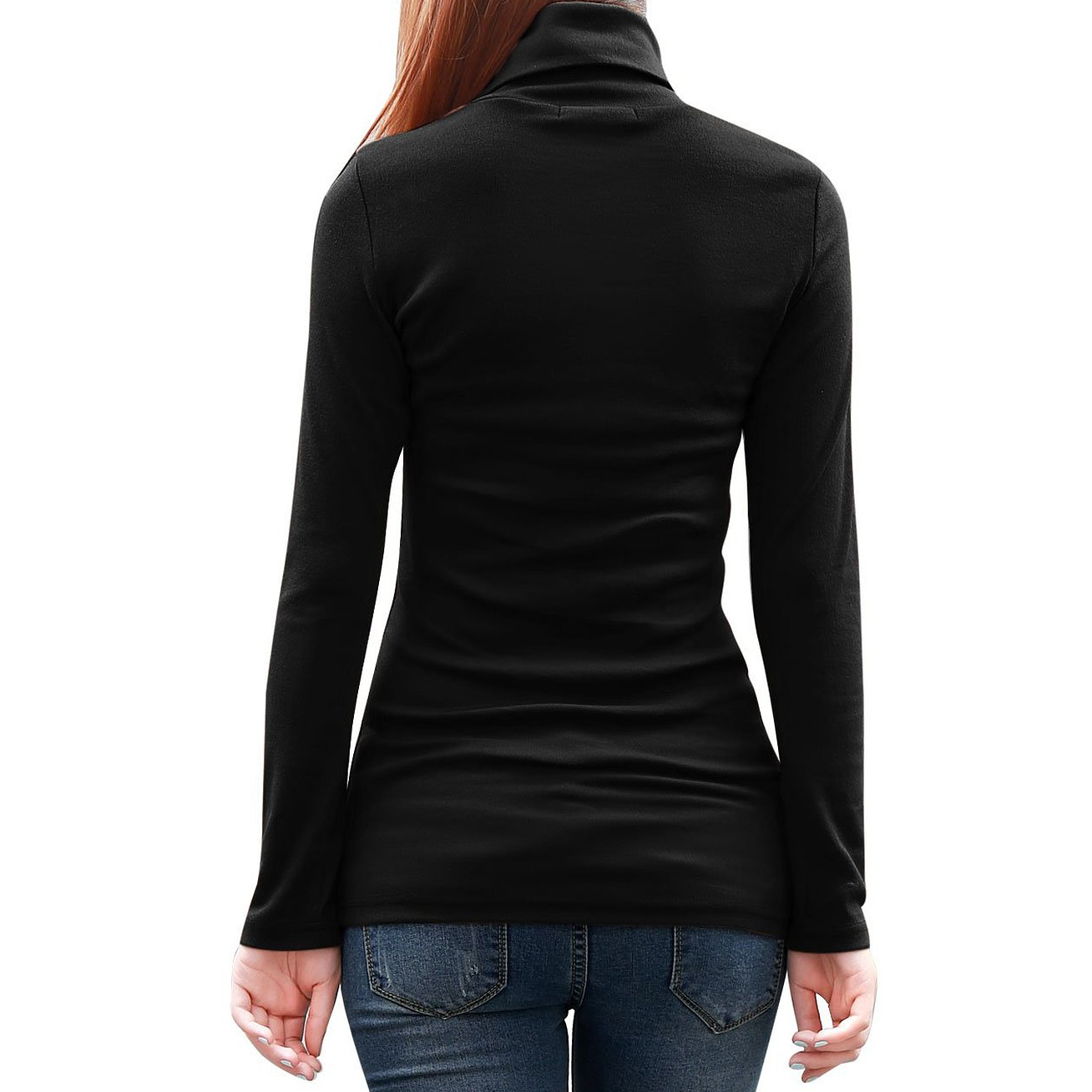 Women Turtleneck Long Sleeve Fitted Knit Shirt Stretchy