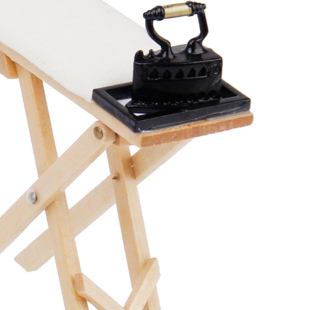 niedlich massstab 1 12 puppenhaus miniatur buegeleisen mit buegelbrett set et ebay. Black Bedroom Furniture Sets. Home Design Ideas