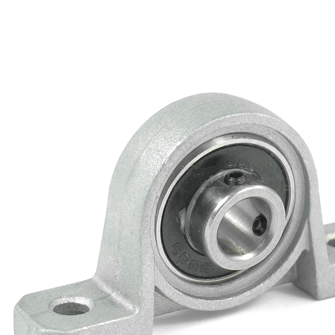 this bearing is a pillow block bearing you can adjust or replace the bearing easily the bearing has a wide inner ring with two set screws