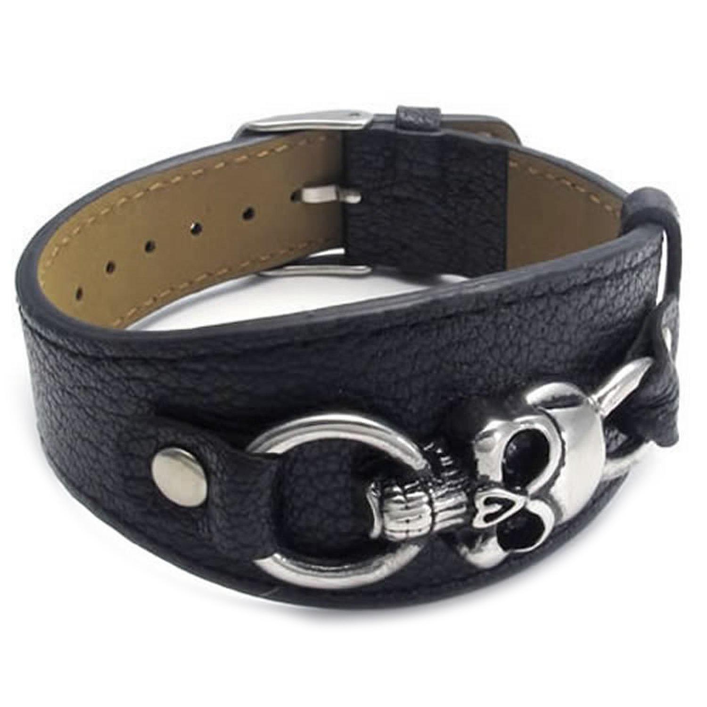 Lederarmband damen schwarz  Schmuck Herren Damen Armband, Breit Leder Armreif, Gotik Totenkopf ...