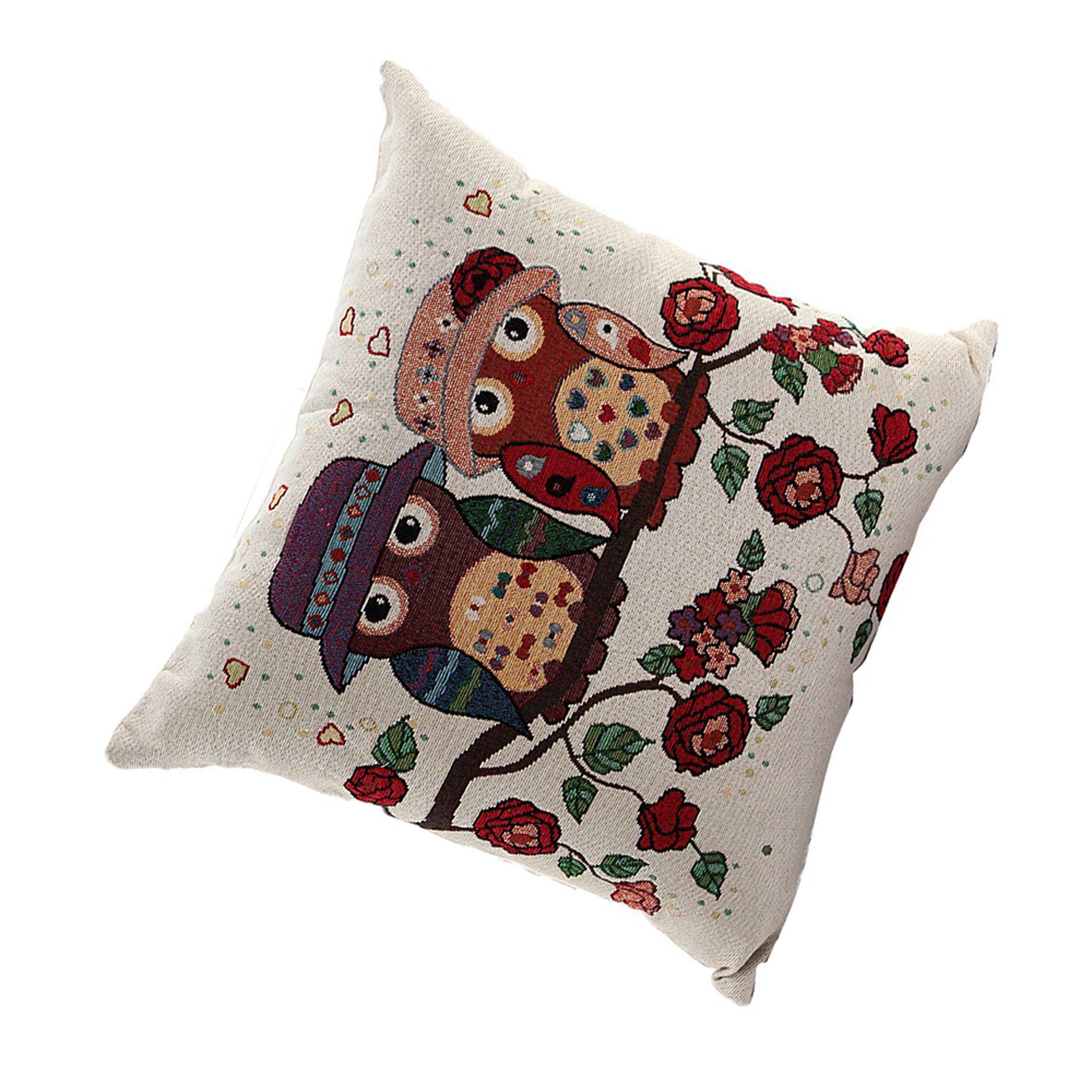 D6 Owl Pattern Linen Decorative Head Pillow Cover Home Cushion Cover Rose eBay