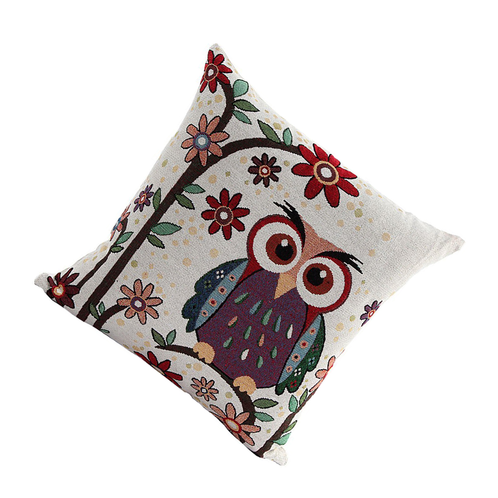 Cute Owl Pattern Linen Decorative Head Pillow Cover Home