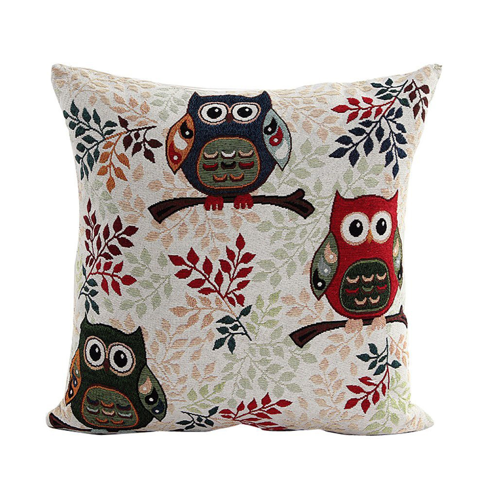 Cute Owl Pattern Linen Decorative Head Pillow Cover Home Cushion Cover WS eBay