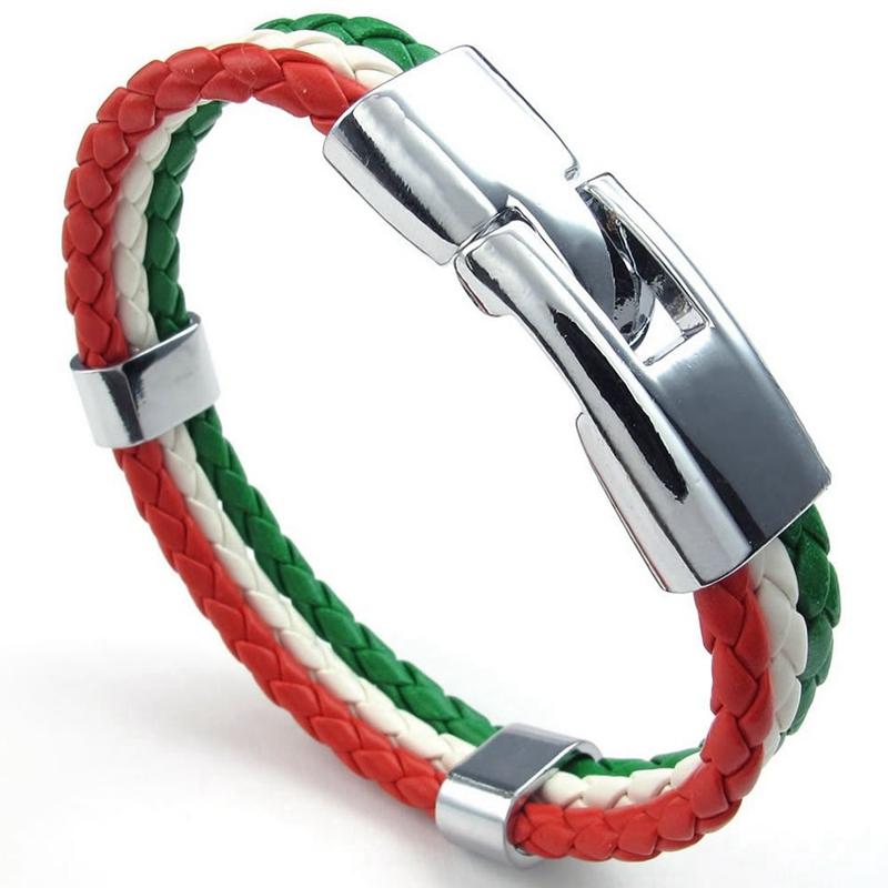 fuer Herren I5U3 Leder Legierung Schmuck Armband Italienische Flagge Armreif