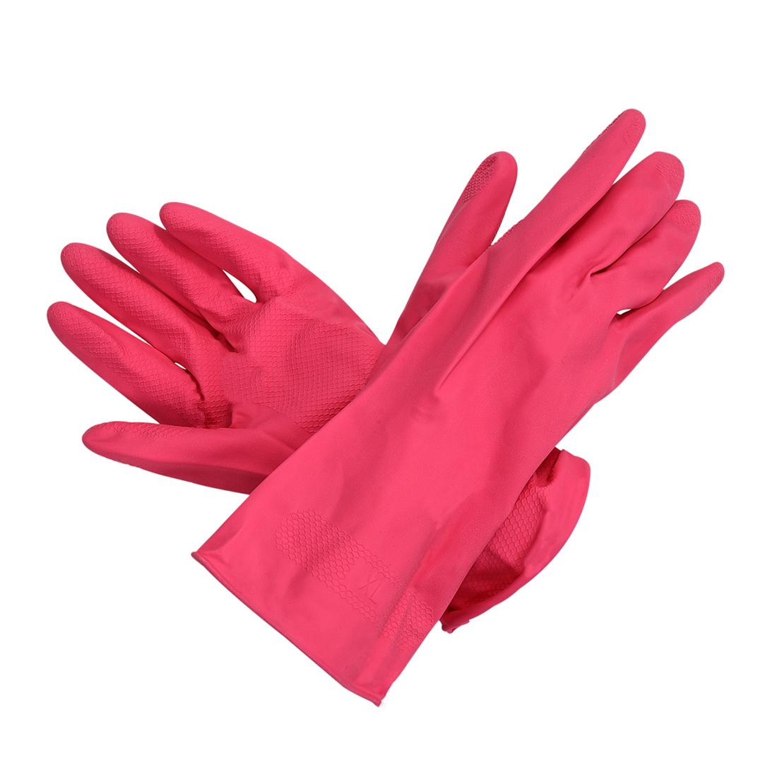 Antislip Clean Wash Latex Gloves 2 PCS Pink X2O6