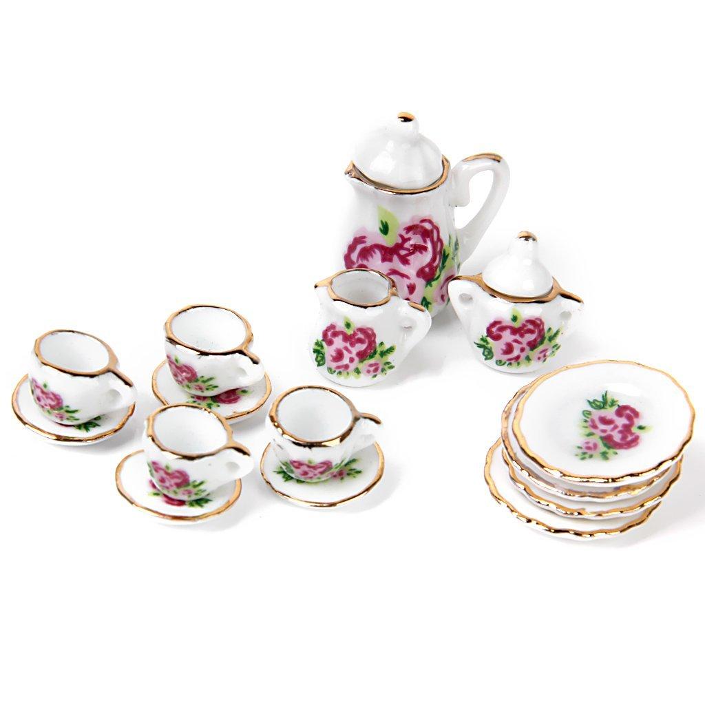 15 stk puppenhaus miniatur ware porzellan tee set becher teller et ebay. Black Bedroom Furniture Sets. Home Design Ideas