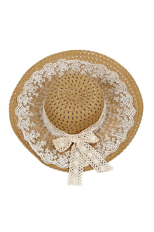 La imagen se está cargando Sombrero-de-sol-decorado-lazo-de-encaje-chico- d2deaee98ef