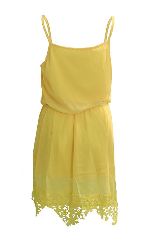 Yellow-Summer-Women-Tropical-Dress-Strap-Lace-Sleeveless-Mini-Slim-Casual-DrT3A2