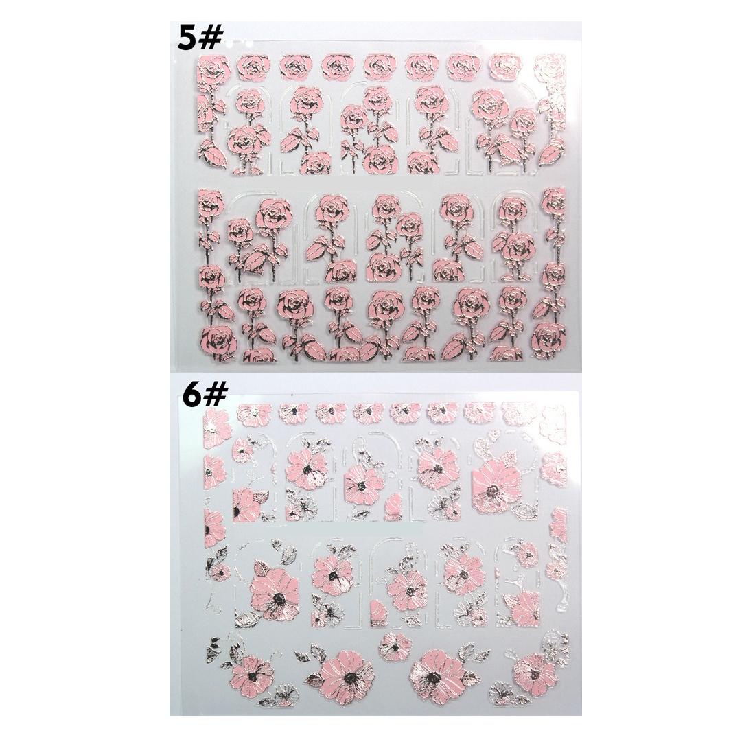 1 Blatt 3D-Design Schoene Rosa Blume Nagel Kunst Nagel Sticker ...
