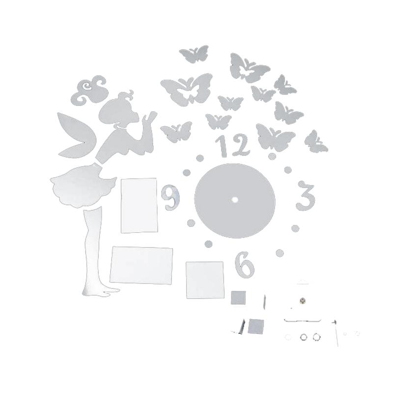 Clock Angel Butterfly Fashion Mirror Wall Home Decal Decor Vinyl Art Sticke G2F7
