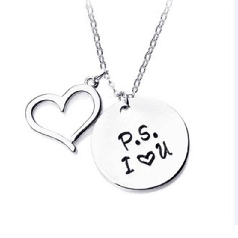07CF Fashion Women Simple Love Letter Pendant Choker Statement Necklace Jewelry