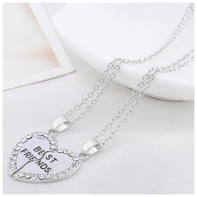 Fashion-Heart-Rhinestone-034-Best-Friends-034-Letters-Two-Parts-Pendant-Necklace-D5Q2