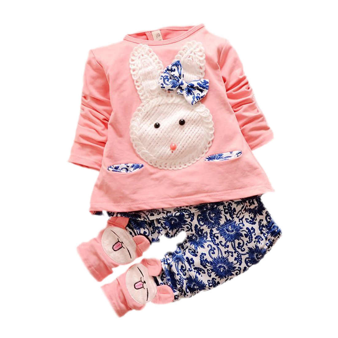 baby kinder oberteile hosen set maedchen kaninchen rosa. Black Bedroom Furniture Sets. Home Design Ideas