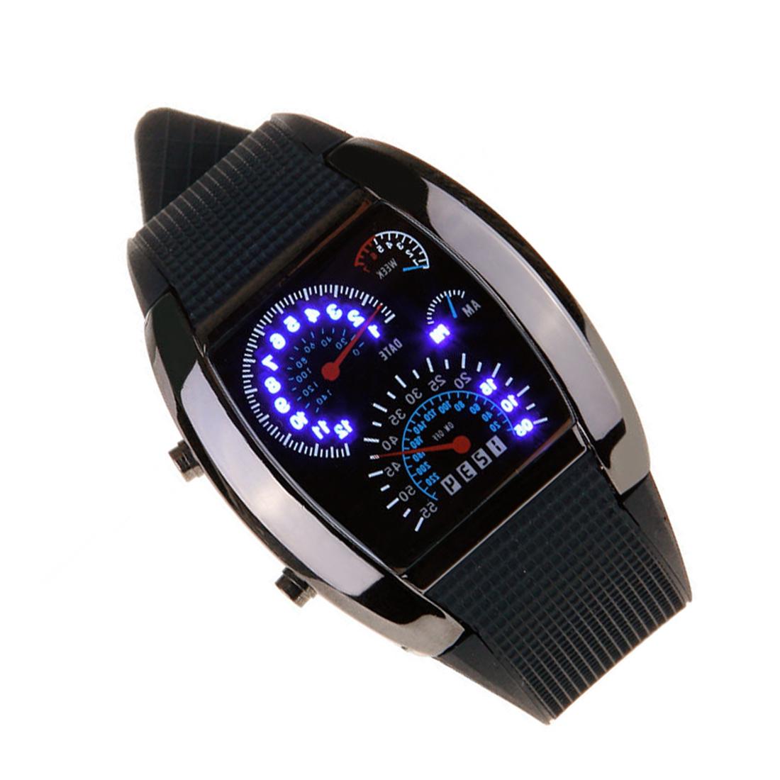 9X-G15-Neue-Meter-Zifferblatt-Schwarz-Gummiband-Blau-Flash-Punkt-Matrix-LED-Renn