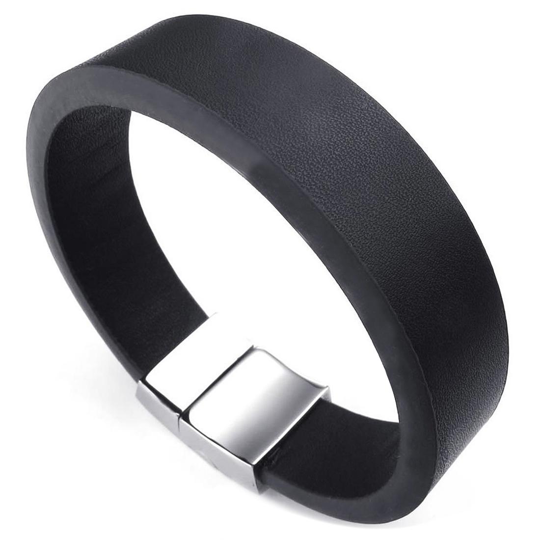 herren damen armband magnet verschluss breit armreif schwarz silber et ebay. Black Bedroom Furniture Sets. Home Design Ideas