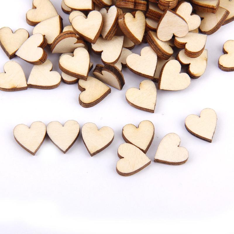 Linden wood Blank peach heart ornament for DIY 10mm 200 pcs. D3C9 1X