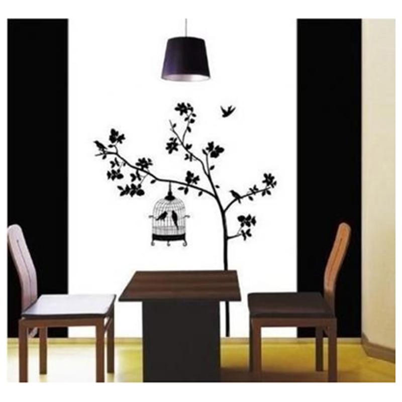 9X-I40-Vogel-Kaefig-Sofa-Baum-Hintergrund-Abnehmbarer-Wandaufkleber
