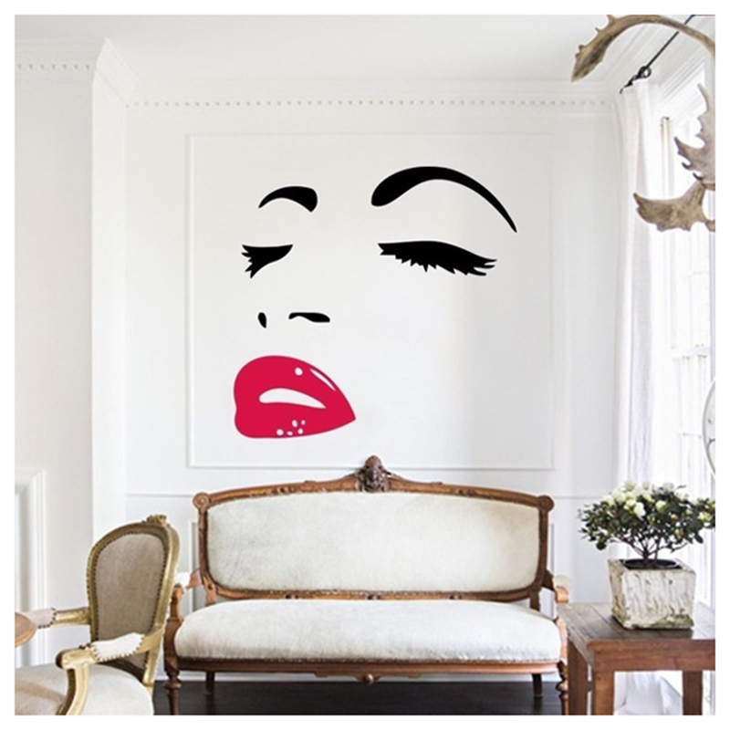 Women Beauty Audrey Hepburn Eyes Red Lips Removable Room
