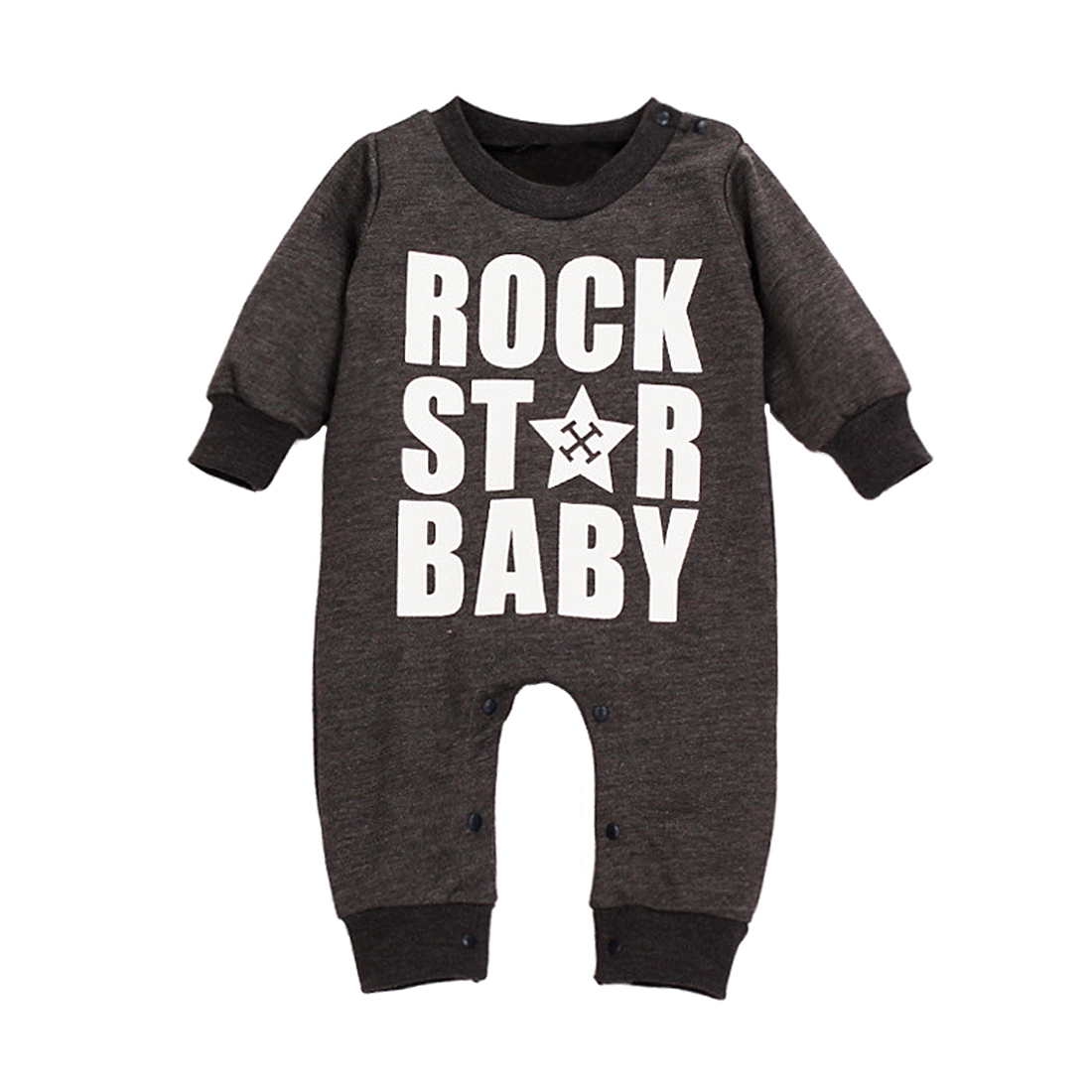 rock star baby boys girls long sleeve romper jumpers sleepsuit sn ebay. Black Bedroom Furniture Sets. Home Design Ideas