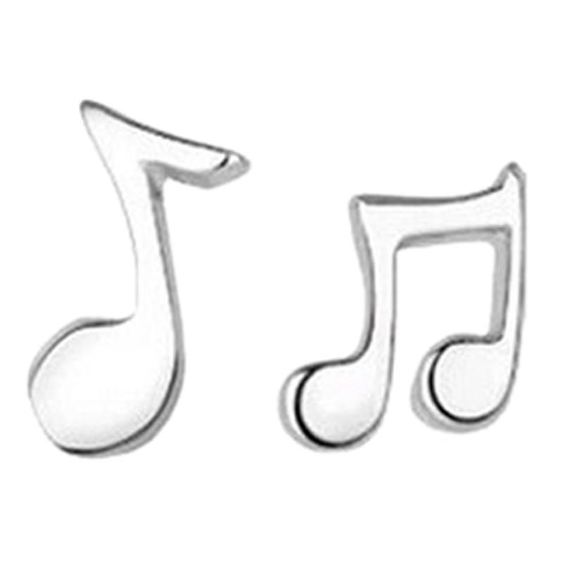 1 Paire clous d'oreillesde de note de musique charmants argentes F2H7) XK