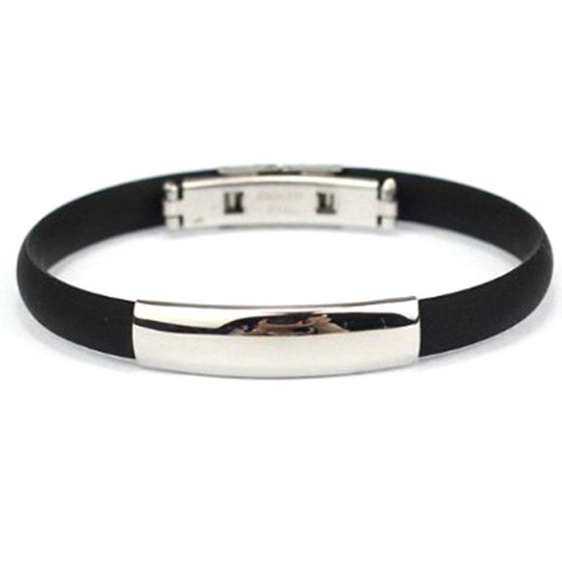 """Bracelet Stainless Steel Cuff Silicone Bangle Hand Chain Men/""""s Jewelry D3H3"""