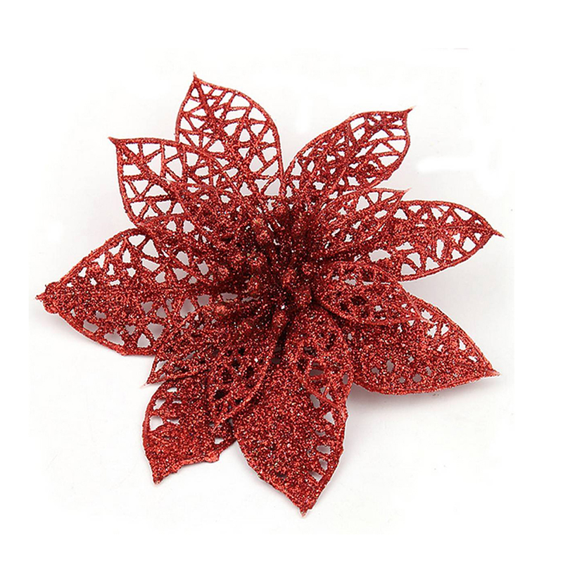 elegant 13cm Sequin Flowers Suspended with  T9Y2 Decoration for Christmas Tree