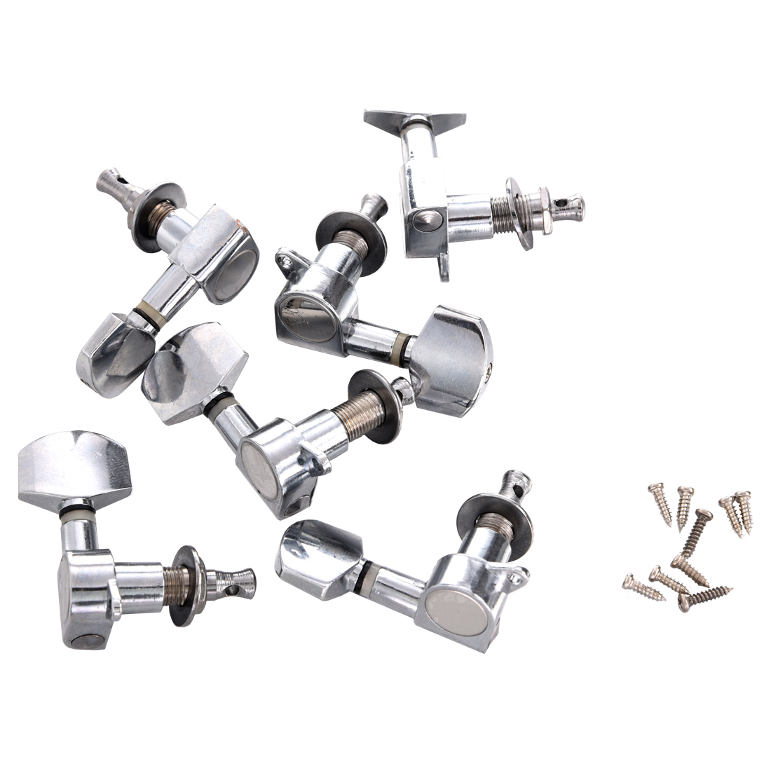 new 6 pcs chrome guitar string tuning pegs tuners machine heads dt ebay. Black Bedroom Furniture Sets. Home Design Ideas