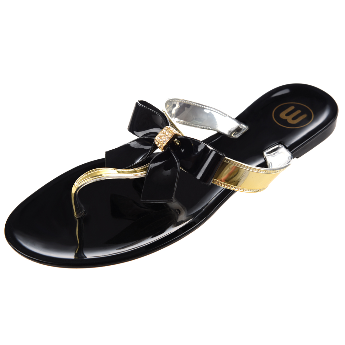 23c72a4086b1fb Ladies Toe Bow Diamante Summer Thong Sandals Black Uk 6 EU 39 US 8 ...
