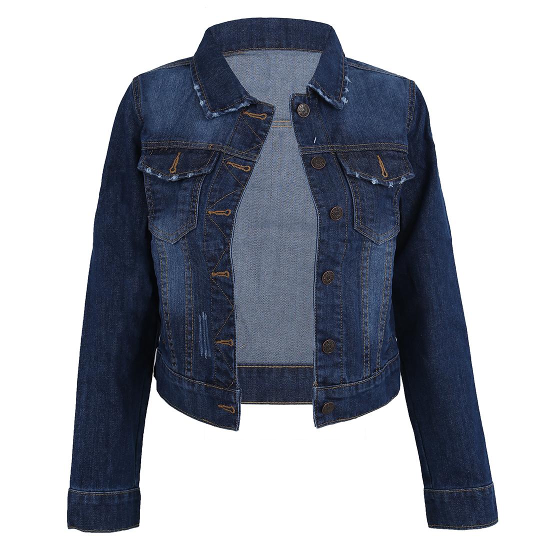 Women Lapel Cropped Denim Jeans Long Sleeve Jacket Coat ...