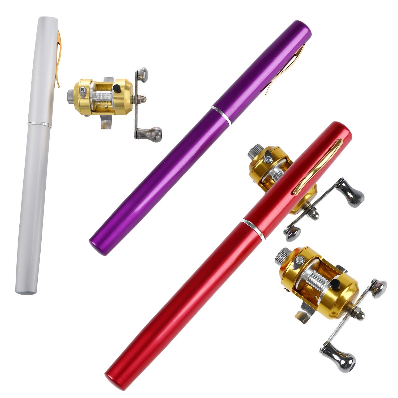 Mini pocket pen fishing rod pole with golden baitcasting for Pen fishing rod