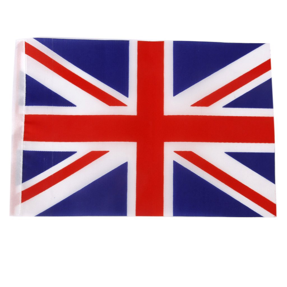 Hand waving union jack flags plastic poles 21 x 14cm pack for Ohrensessel union jack