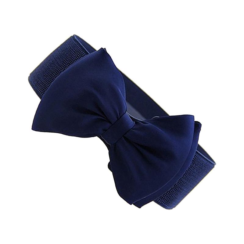 1 sur 3Livraison gratuite Ceinture de noeud papillon a la mode elastique Ceinture  pour femme Bleu fon G6J1 6bbc71993fe