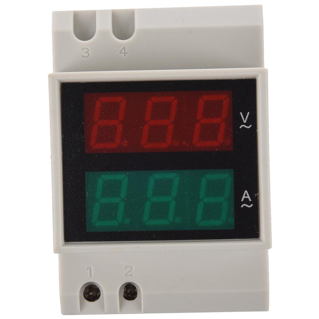 din schiene ac 110v 220v digitales voltmeter amperemeter led anzeige m9 ebay. Black Bedroom Furniture Sets. Home Design Ideas