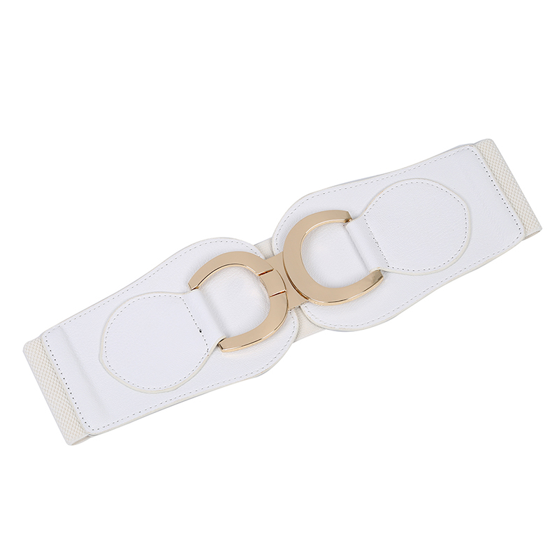 Goldfarbe Dual D-Ring Schnalle breiter elastischer Gürtel für Frauen