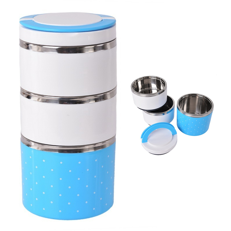 sa 3layers thermal bento lunch box thermos stainless steel insulation storage. Black Bedroom Furniture Sets. Home Design Ideas