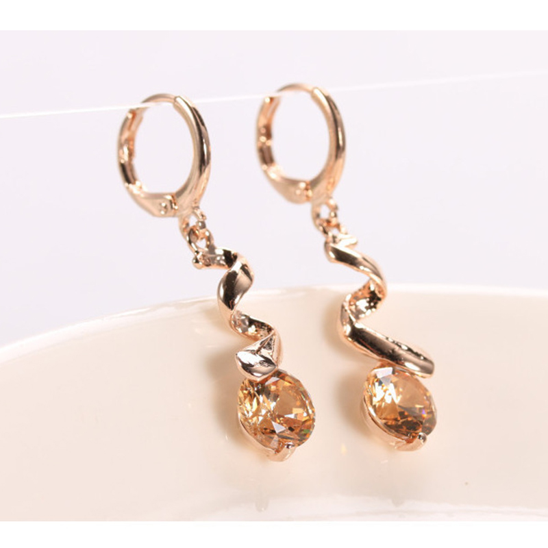 Jewelry-Women-039-s-Rose-Gold-Plated-Crystal-Drop-Earrings-For-Wedding-Purple-J-W4I0