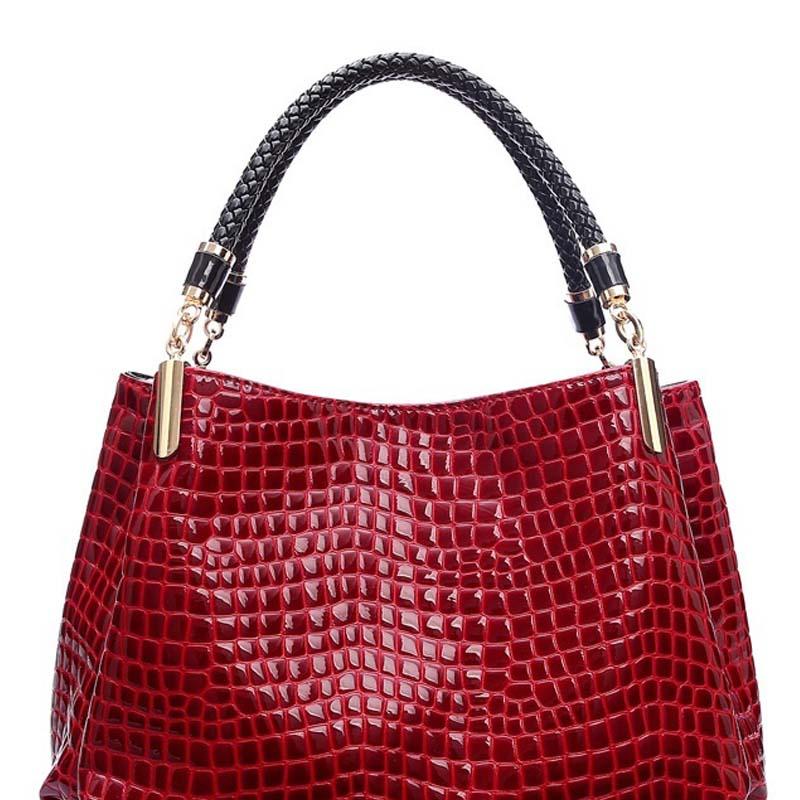 Fashion Women Crocodile Pattern Leather Shoulder Bag Female Tote Handbag I4D5