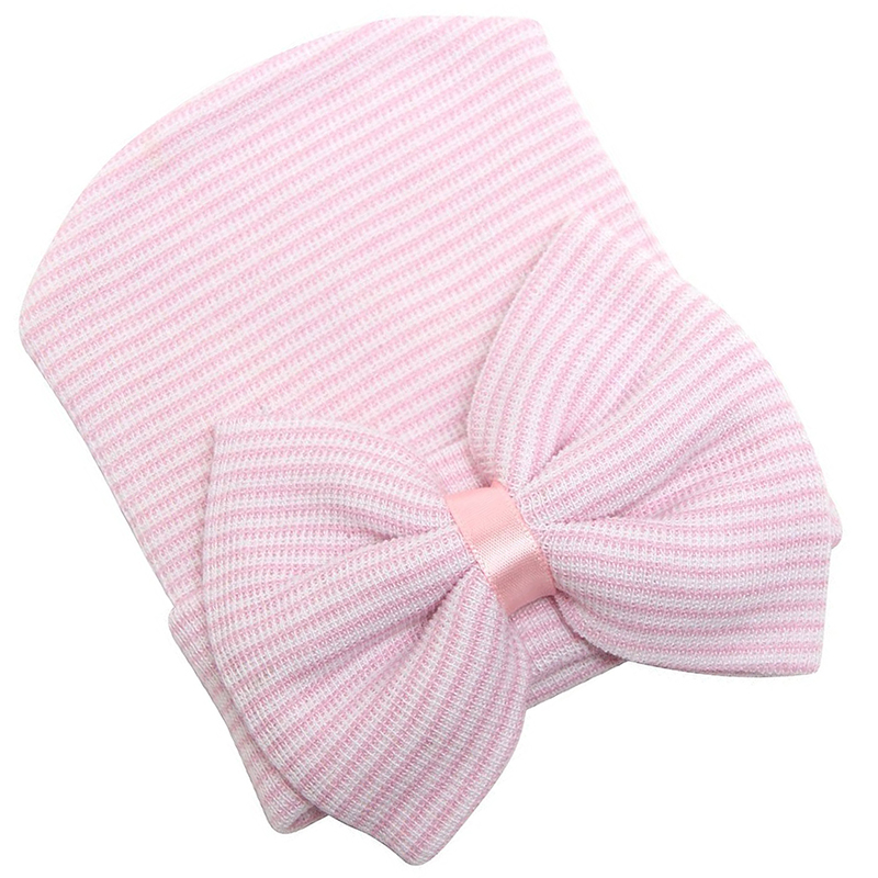 Newborn Baby Hospital Hat Beanie With Bow Cute Soft Sweet Baby Caps Pink G5V9