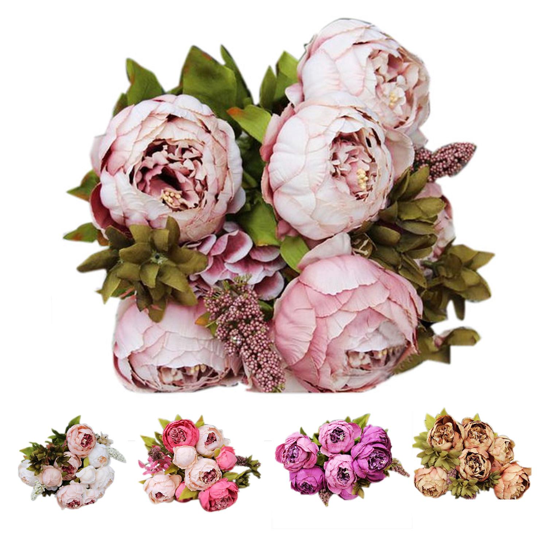 1bouquet 8 Heads Artificial Peony Silk Flower Leaf Home Wedding