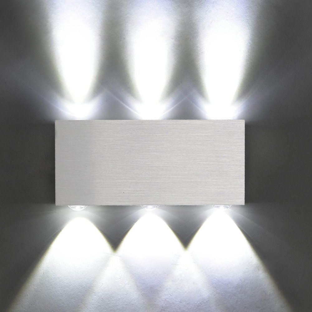 Contemporary Bedroom Wall Lights: Modern Aluminum 6 LED 6W Up Down Wall Lights For Living
